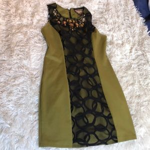 Olive and Black Lace Dress